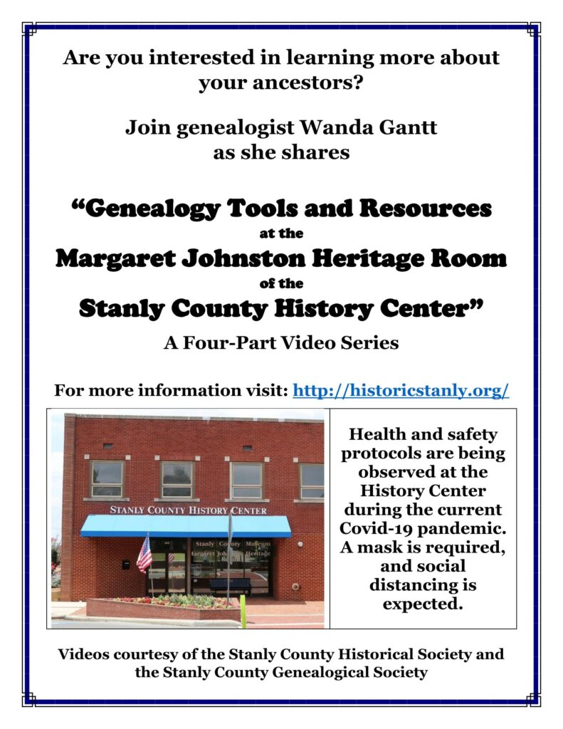 Genealogy Tools and Resources – A Video Series from the Historical and Genealogical Societies