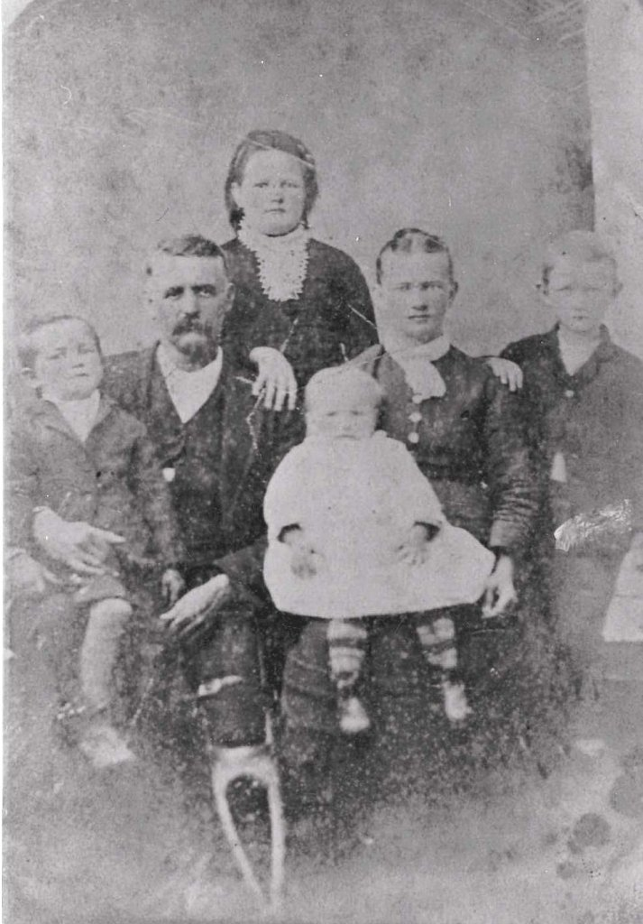 Snuggs family, ca. 1885.  From left to right: William Henry, Isaiah Wilson, Bertha Estella, Mary Cleveland, Ellen Douglas Milton, and Edgar Eugene Snuggs.