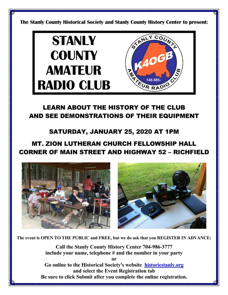 Stanly County Amateur Radio Club History – a Historical Society Event