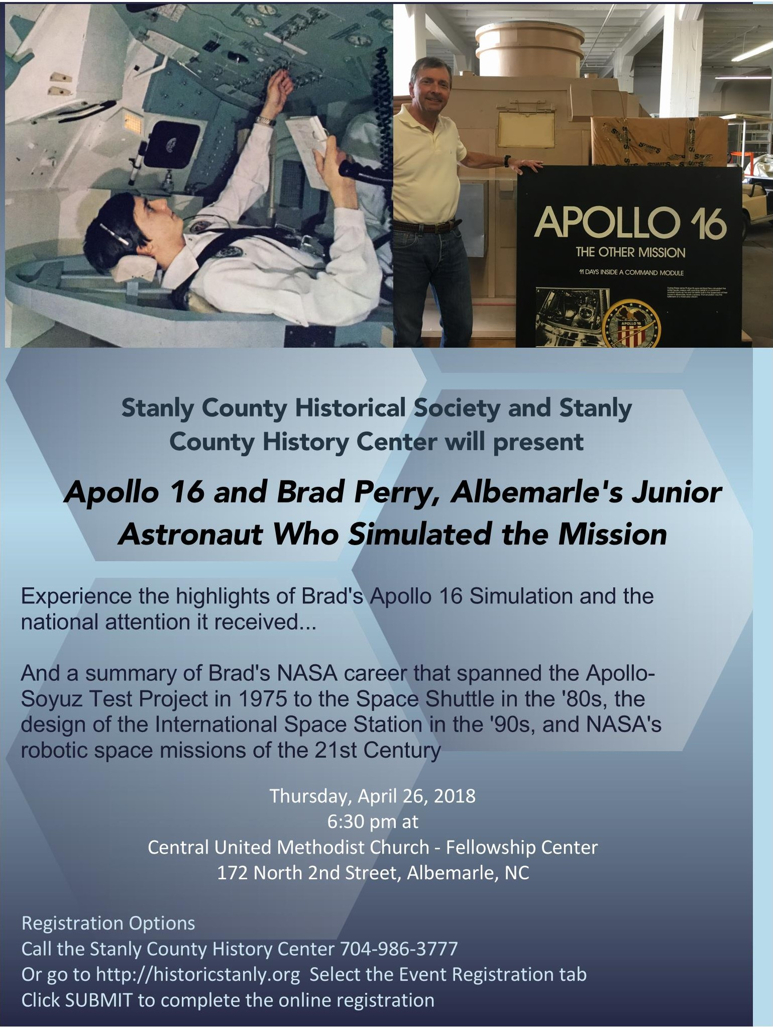 Apollo 16 and Brad Perry, Albemarle Junior Astronaut Who Simulated the Mission – A Historical Society Program