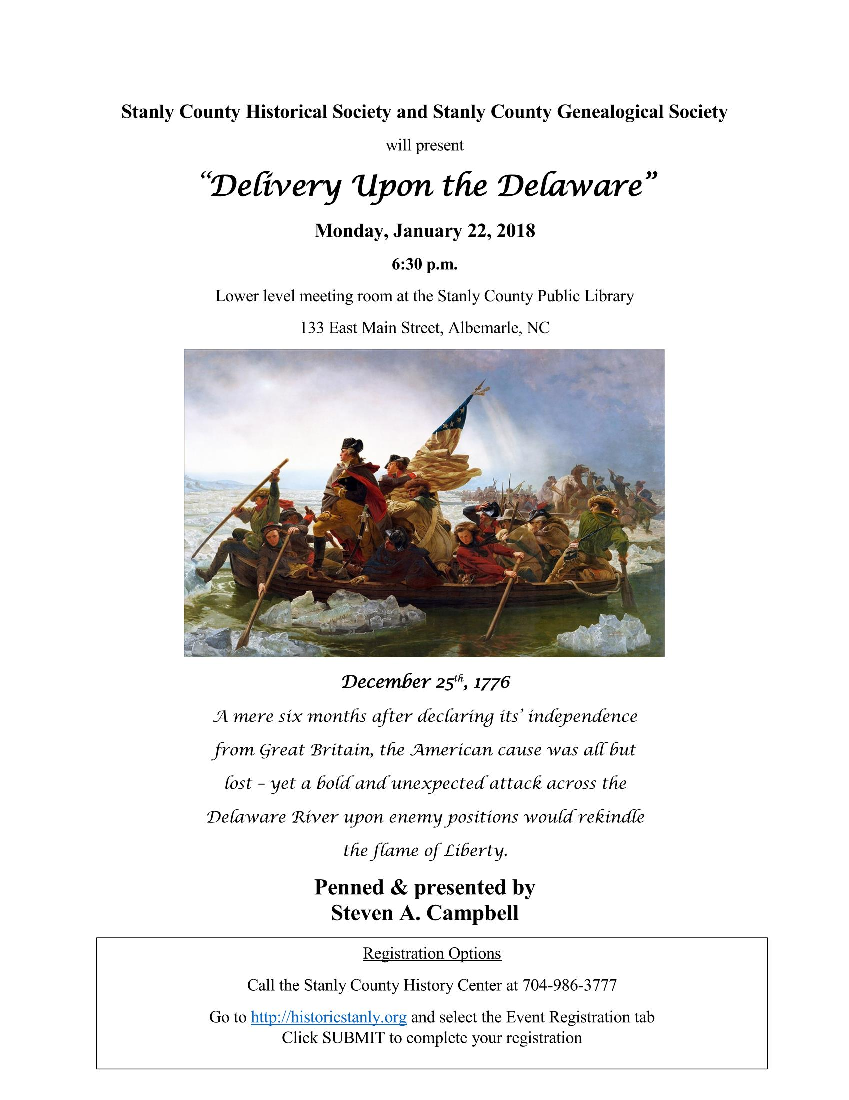 Delivery Upon The Delaware – Historical Society Program