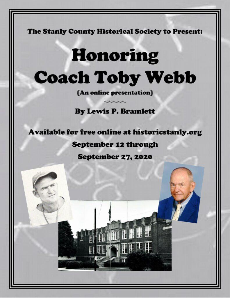 Honoring Coach Toby Webb – An Online Historical Society Presentation