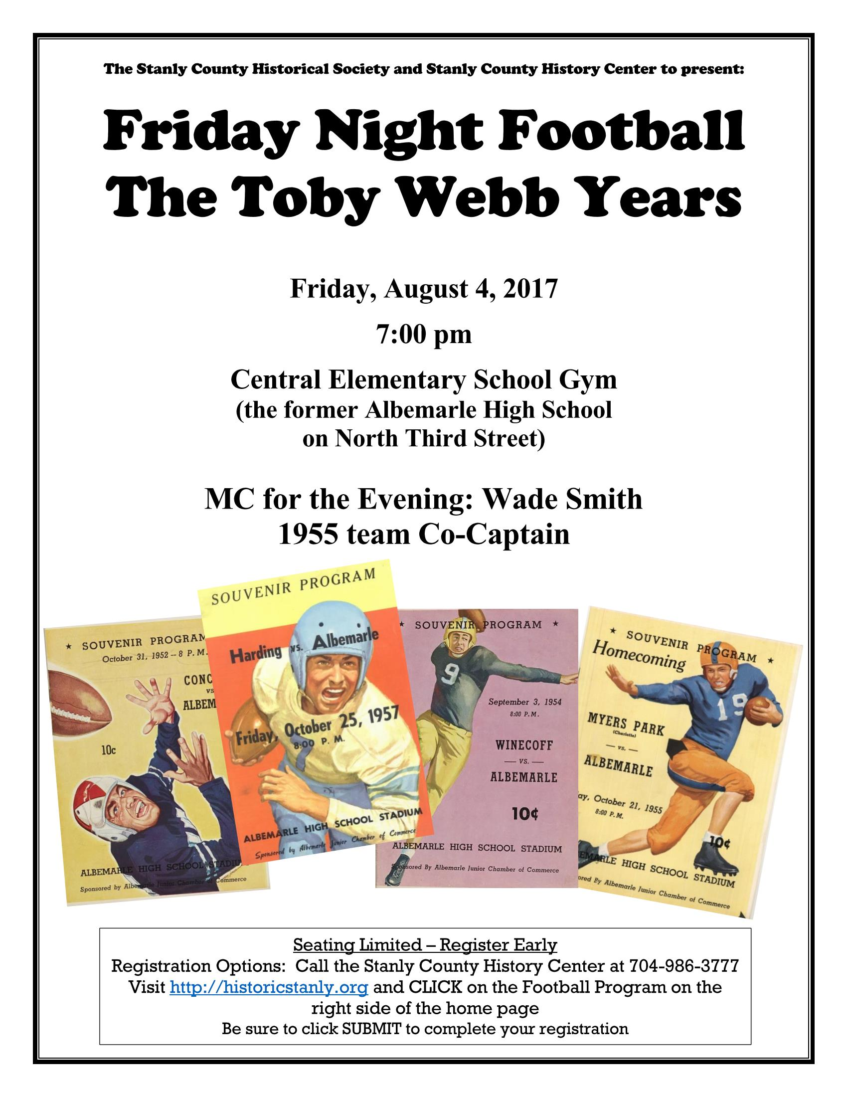Friday Night Football Flyer - the Toby Webb Years