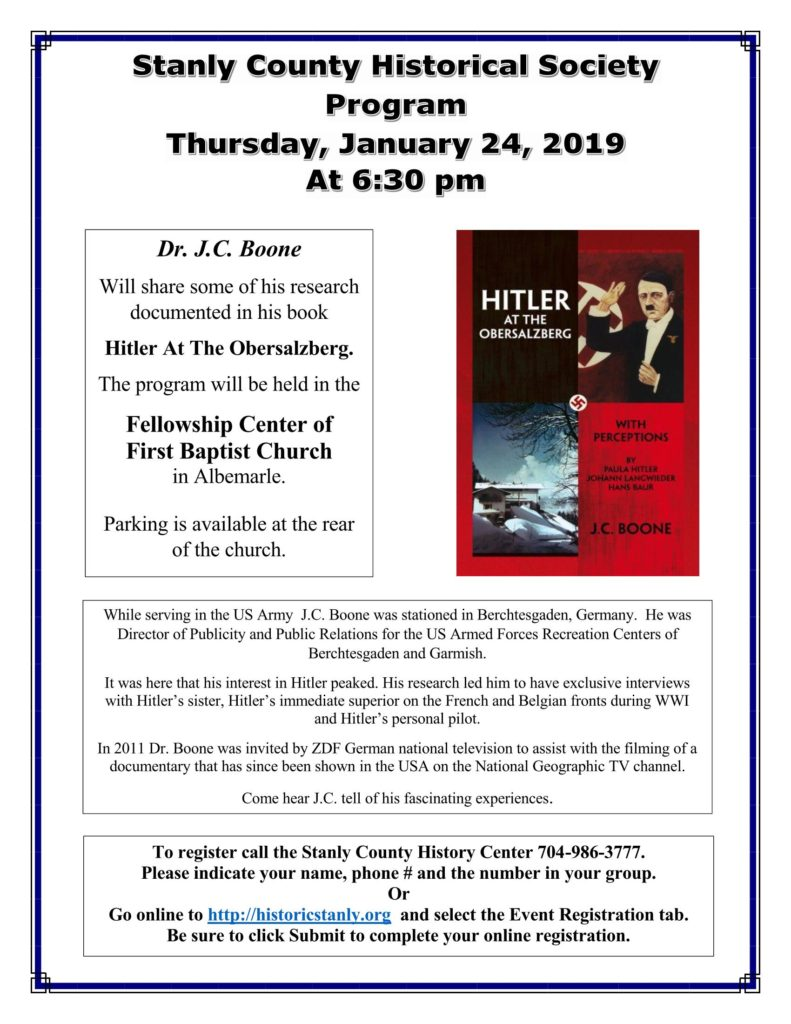 """Flyer for the Historical Society program called """"Hitler at the Obersalzberg"""". Please call 704-986-3777 for more information."""