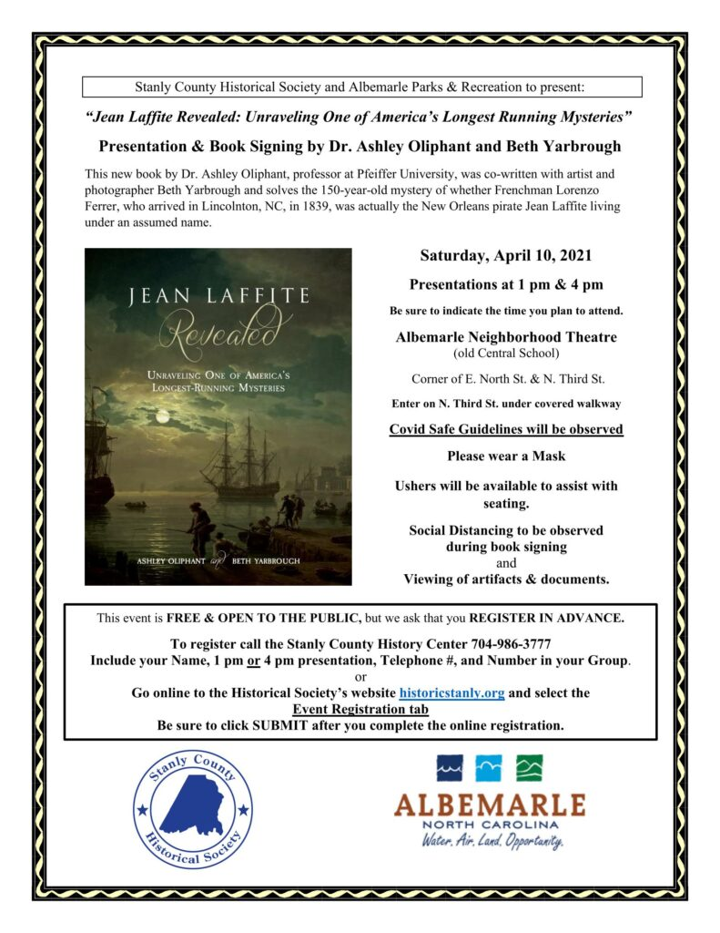 Jean Laffite Revealed: Unraveling One of America's Longest Running Mysteries – a Historical Society Program