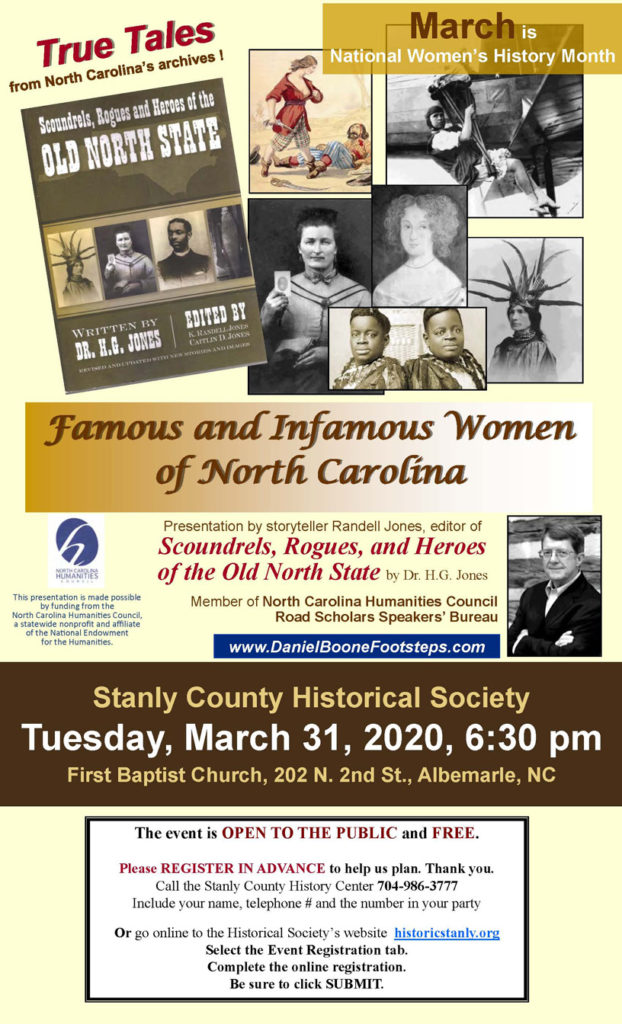 Famous and Infamous Women of North Carolina – a Historical Society Program