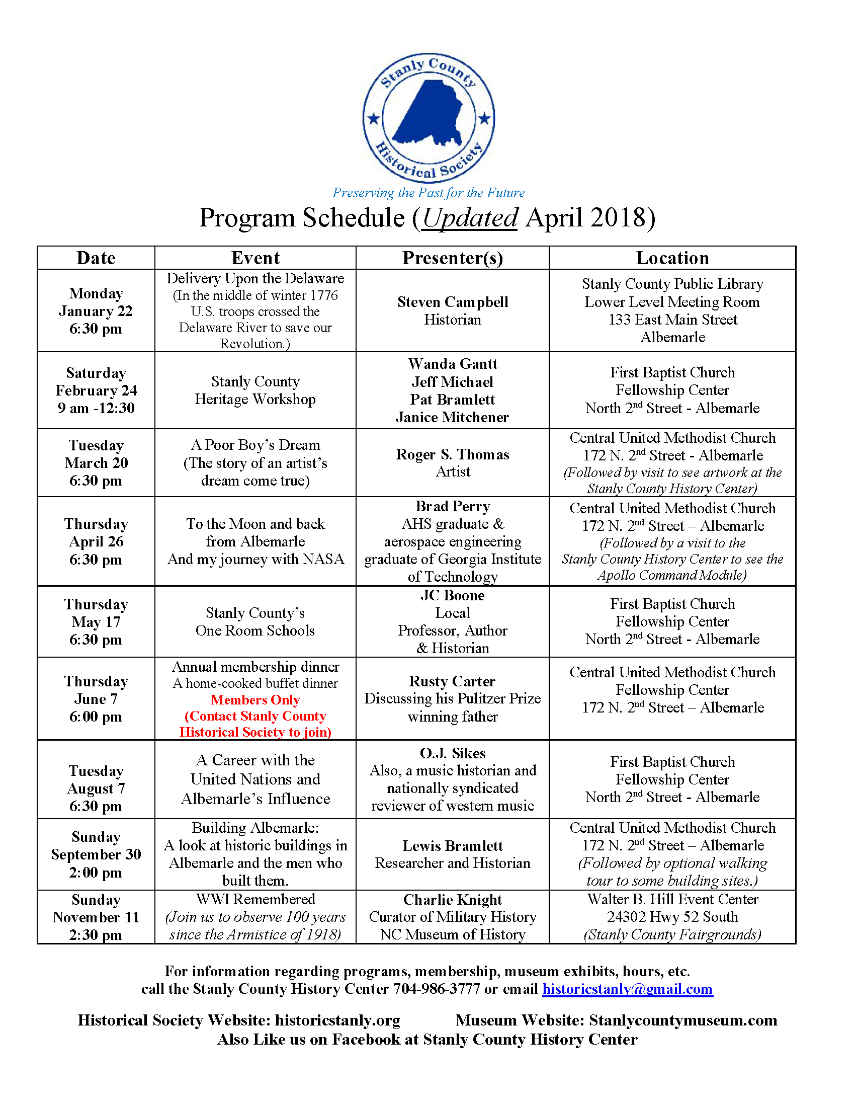 2018 Schedule for the Stanly County Historical Society's programs. Please call 704-986-3777 for more information.