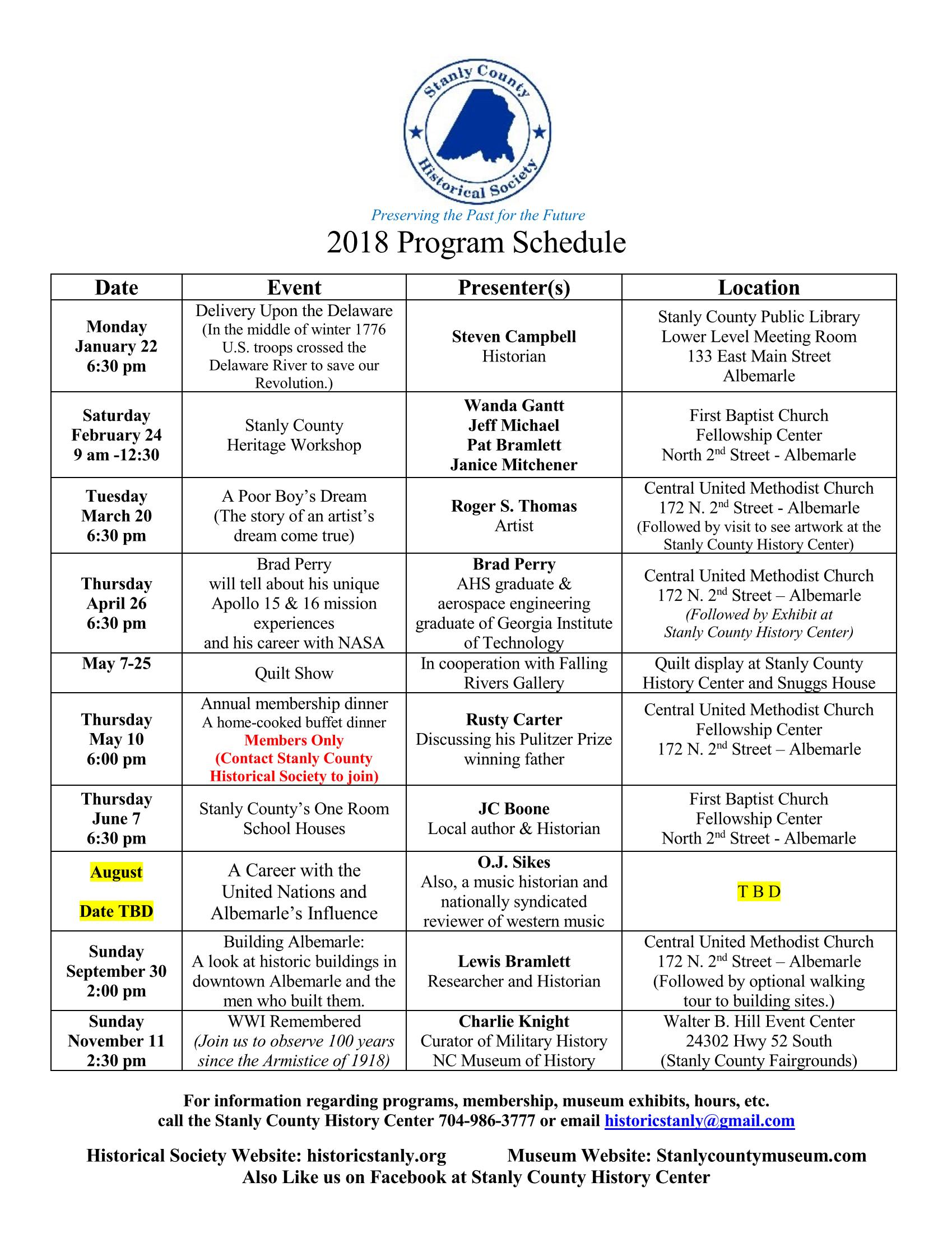 Historical Society Event Schedule 2018