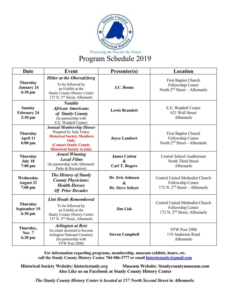 2019 Historical Society Program Schedule