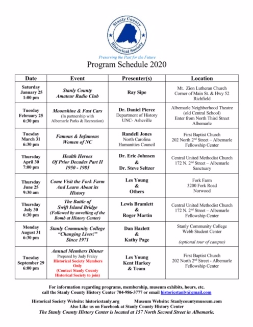 2020 Historical Society Event Schedule
