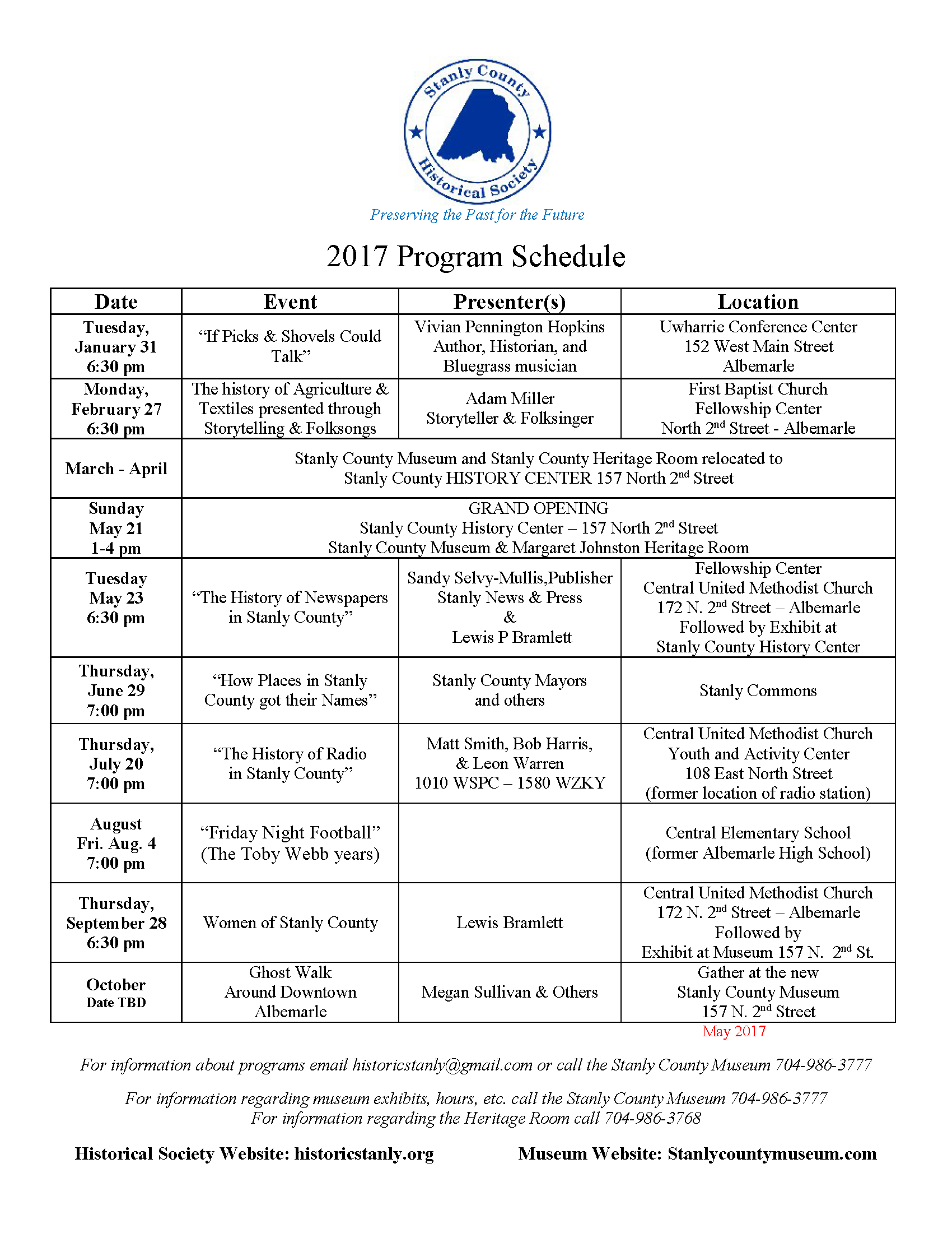 Stanly County Historical Society, Flyer for 2017 Programs